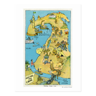 Cartão Postal Pontos dos desenhos animados do interesse em Cape
