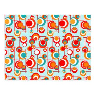 Cartão Postal Pontos retros da laranja e da turquesa