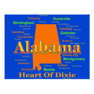 Cartão Postal Pop art da silhueta do mapa de Alabama