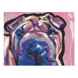 Cartão Postal Pop art do cão de Shar Pei do chinês