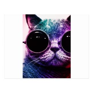 Cartão Postal Pop art do gato do hipster