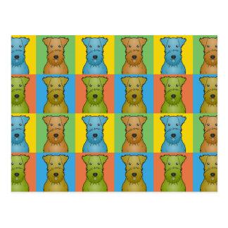 Cartão Postal Pop art dos desenhos animados do cão de Airedale