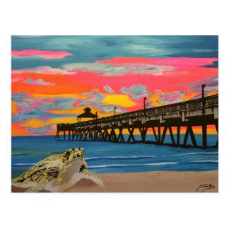 Cartão Postal Pop do cais da praia de Deerfield! pintura em um