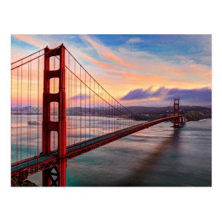 Cartão Postal Por do sol bonito do inverno em golden gate bridge