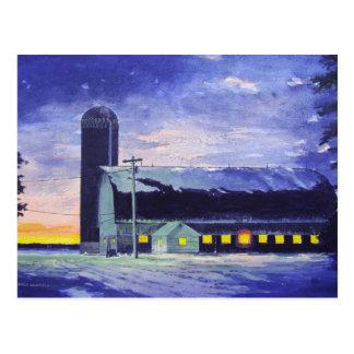 Cartão Postal Por do sol-cartão do celeiro da noite