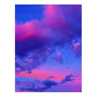 Cartão Postal Por do sol cor-de-rosa de néon