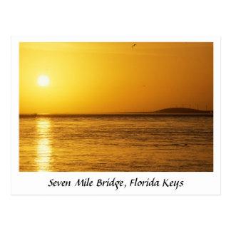 Cartão Postal Por do sol da ponte de sete milhas, chaves de