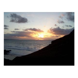 Cartão Postal Por do sol de Cornualha perto do país de Agnes