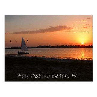 Cartão Postal Por do sol de DeSoto do forte
