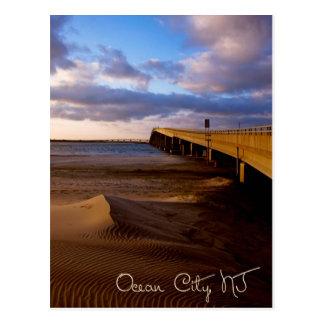 Cartão Postal Por do sol de New-jersey da cidade do oceano no