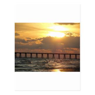 Cartão Postal Por do sol do cais da praia da Cidade do Panamá
