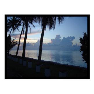 Cartão Postal Por do sol do parque da praia de Guam