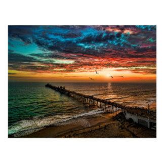 Cartão Postal Por do sol do perto do oceano