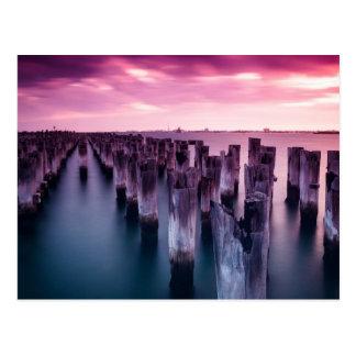 Cartão Postal Por do sol do roxo dos príncipes Cais Melbourne