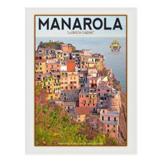 Cartão Postal Por do sol do vinhedo de Manarola (branco)