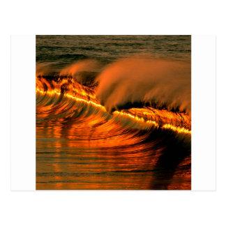 Cartão Postal Por do sol dourado Puerto Escondido da onda do mar