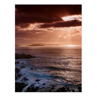 Cartão Postal Por do sol escocês, costa norte de Scotland