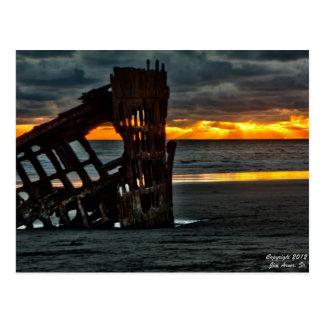 Cartão Postal Por do sol na destruição do Peter Iredale #1