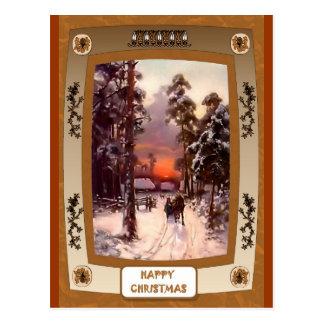 Cartão Postal Por do sol na neve