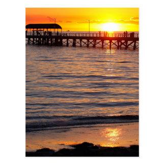 Cartão Postal Por do sol na praia da granja e no molhe,