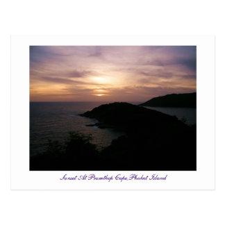 Cartão Postal Por do sol no cabo de Promthep, ilha de Phuket
