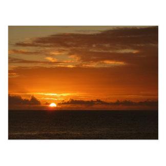 Cartão Postal Por do sol no mar mim Seascape alaranjado tropical