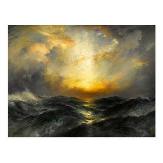 Cartão Postal Pôr-do-sol no oceano