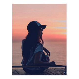 Cartão Postal por do sol pela praia