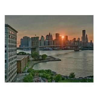 Cartão Postal Por do sol sobre a ponte de Brooklyn