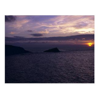Cartão Postal Por do sol sobre a praia de Fistral, Cornualha
