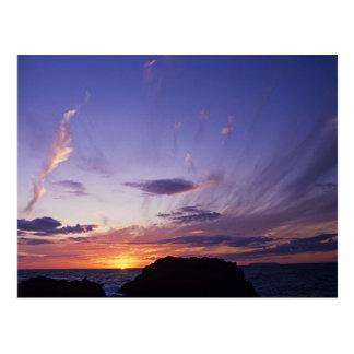 Cartão Postal Por do sol sobre o Oceano Atlântico de Cornualha