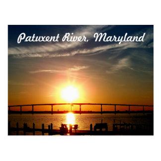 Cartão Postal Por do sol sobre o rio de Patuxent, ilha de