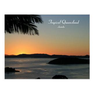 Cartão Postal Por do sol tropical da ilha, Queensland, Austrália