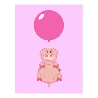 Cartão Postal Porco bonito e balão do vôo