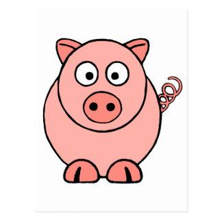 Cartão Postal Porco cor-de-rosa