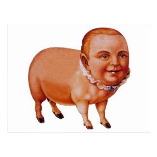 Cartão Postal Porco da carne de porco do kitsch do vintage o