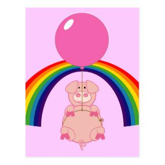 Cartão Postal porco de flutuação do vôo sobre o arco-íris