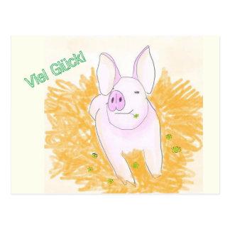 Cartão Postal Porco de sorte
