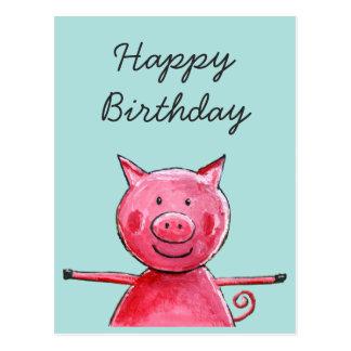 Cartão Postal Porco feliz