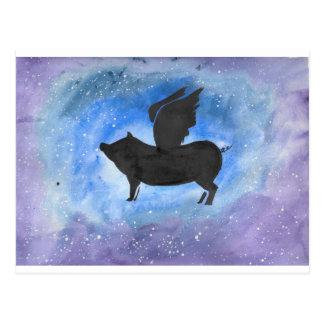 Cartão Postal Porco majestoso do vôo