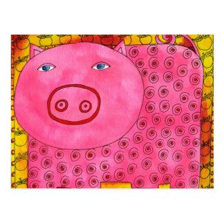 Cartão Postal Porco modelado