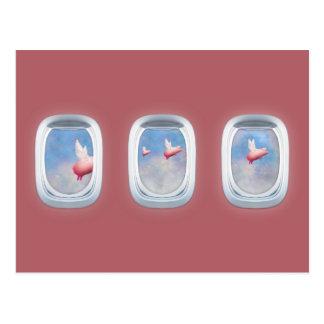 Cartão Postal Porcos que voam após janelas do avião