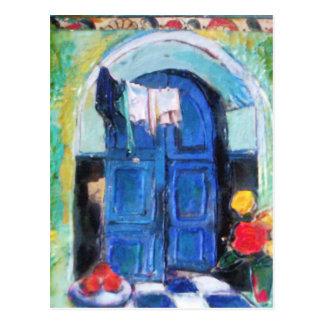 Cartão Postal Porta azul -