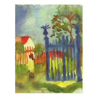 Cartão Postal Porta de jardim daqui até agosto Macke