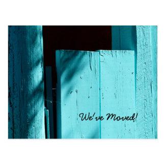 Cartão Postal Porta de turquesa, anúncio novo do endereço