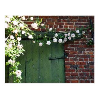 Cartão Postal Porta e rosas velhos