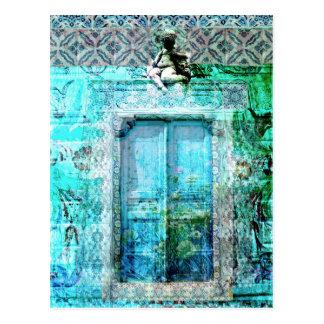 Cartão Postal Porta italiana romântica do renascimento com anjo