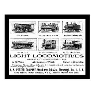 Cartão Postal Porteiro de H K & locomotivas de Co.Light