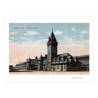 Cartão Postal Portland, opinião da estrada de ferro da estação