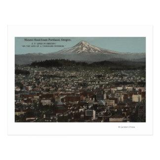 Cartão Postal Portland, Oregon - vista do centro com Mt